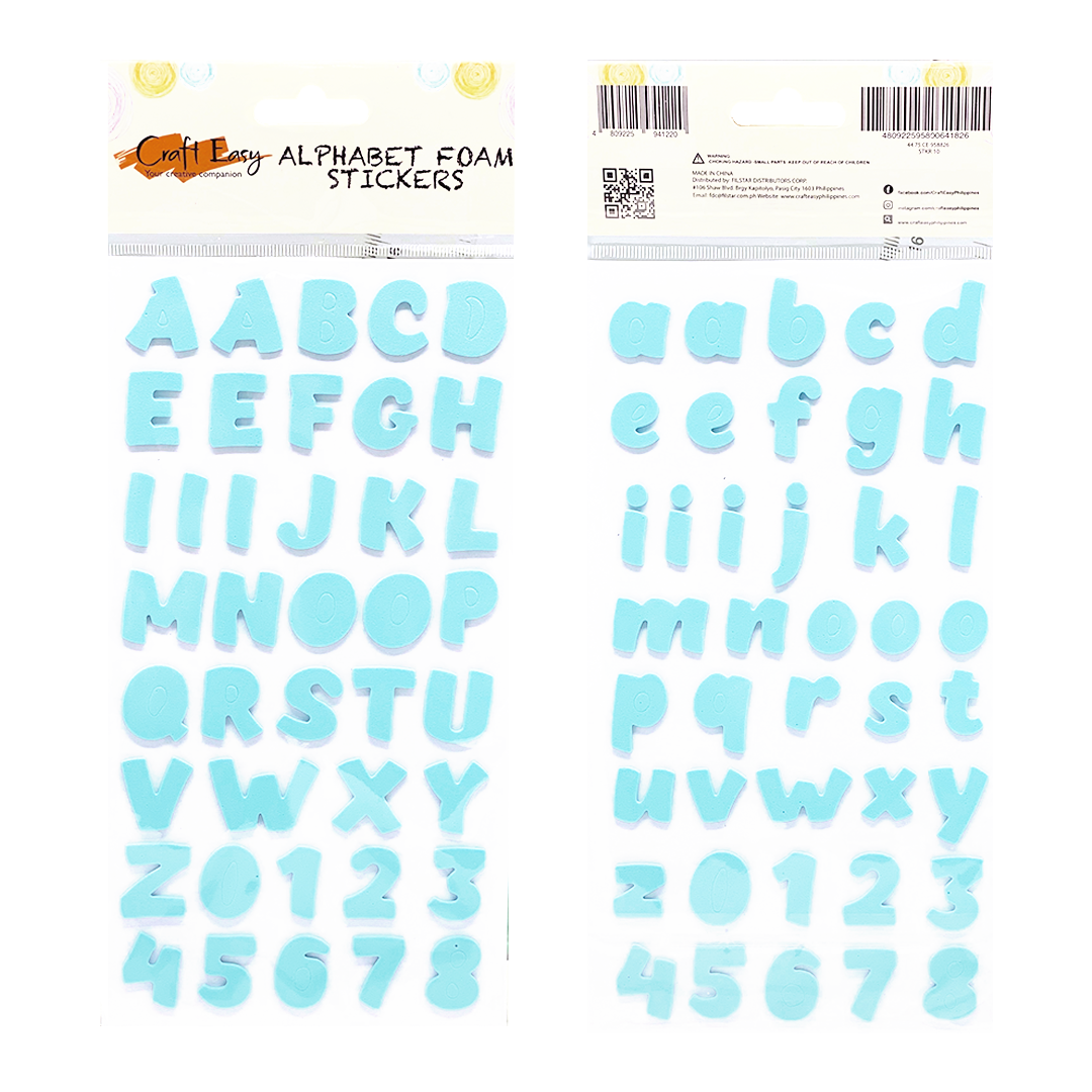 Sky Blue Alphabet Foam Stickers