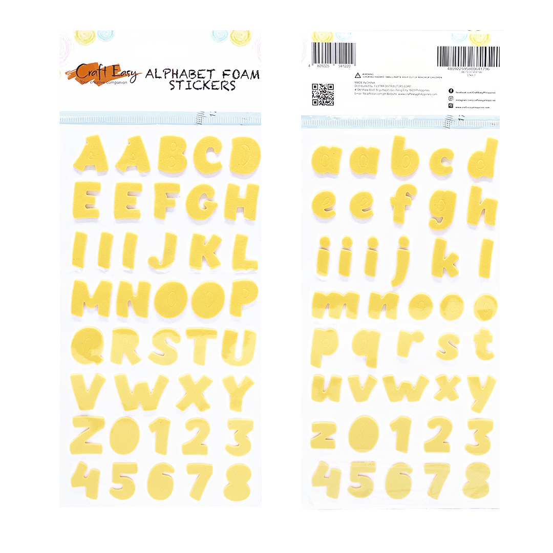 Yellow Alphabet Foam Stickers